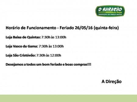 Horário Funcionamento - Feriado 26/05