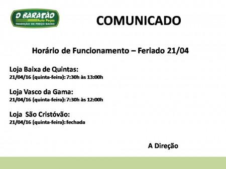 Horário Funcionamento - Feriado 21/04